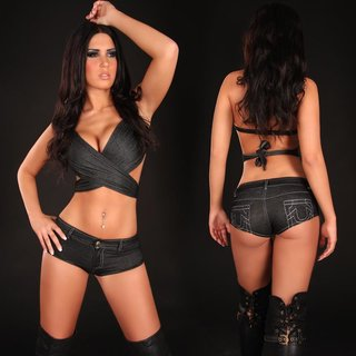 Sexy hot pants jeans look with zipper gogo club black