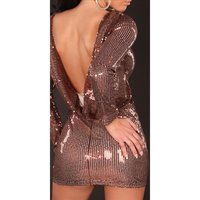 Precious glamour sequined dress evening dress brown