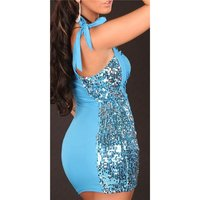 SEXY ONE-SHOULDER PARTY MINIDRESS WITH SEQUINS TURQUOISE