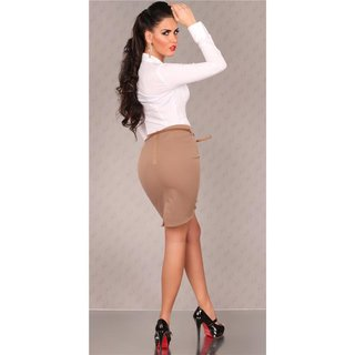 ELEGANT WAIST SKIRT WITH BELT CAPPUCCINO