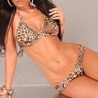 SEXY HALTERNECK BIKINI BEACHWEAR WITH ZIPPER LEOPARD-BROWN
