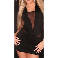 Sexy mini dress chiffon gogo clubwear black