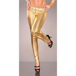 SEXY TREGGINGS DRAINPIPE PANTS WET LOOK GOLD