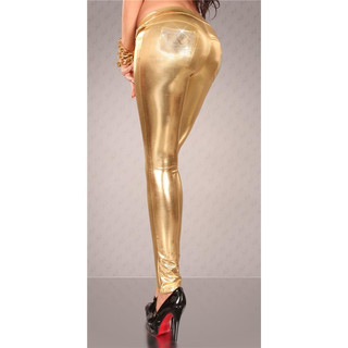 SEXY TREGGINGS RÖHRENHOSE WETLOOK GOLD