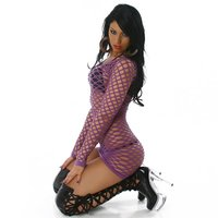 Sexy fishnet dress gogo clubwear lilac
