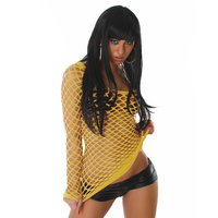 SEXY FISHNET SHIRT GOGO CLUBWEAR YELLOW