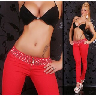 SEXY DRAINPIPE JEANS WITH RHINESTONES RED