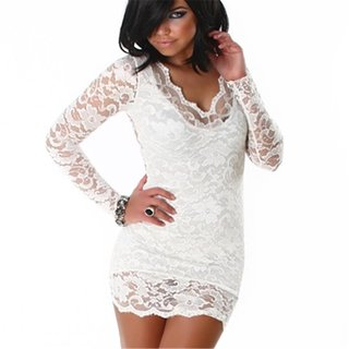 Sexy minidress dress made of lace cream