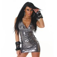 SEXY GLAMOUR SEQUINED MINIDRESS PARTY DRESS DARK GREY
