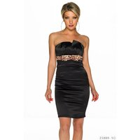 SEXY SATIN SHEATH DRESS BLACK