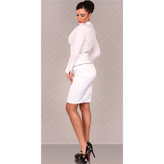 Elegant satin waist skirt with belt white