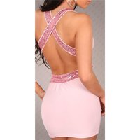 Sexy Minikleid Party-Kleid mit Pailletten Clubwear Rosa