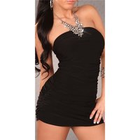 Sexy halterneck mini dress with rhinestone chain black