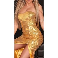 GLAMOUR SEQUINED DRESS BANDEAU EVENING DRESS GOLD