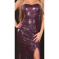 GLAMOUR SEQUINED DRESS BANDEAU EVENING DRESS PURPLE