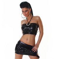 SEXY GOGO SET TOP+MINISKIRT CLUBWEAR METALLIC LOOK BLACK