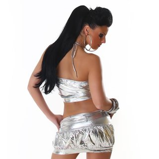 SEXY 2-TLG GOGO-SET TOP+ROCK CLUBWEAR METALLIC-LOOK SILBER