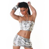 SEXY GOGO SET TOP+MINISKIRT CLUBWEAR METALLIC LOOK SILVER