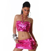SEXY GOGO SET TOP+MINISKIRT CLUBWEAR METALLIC LOOK FUCHSIA