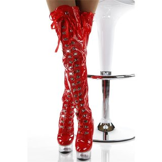 Sexy fetish overknee boots with lacing stripper red