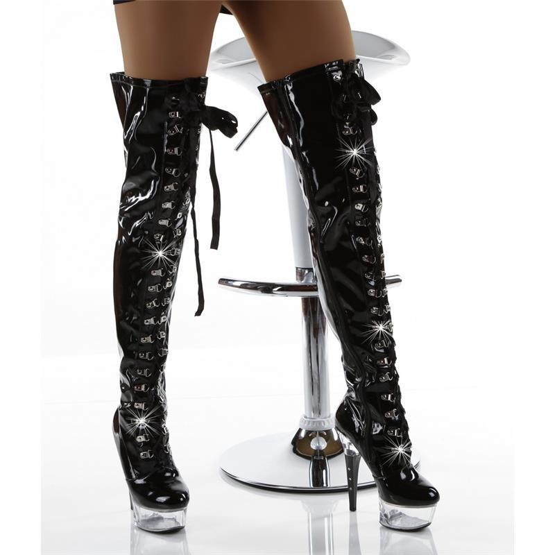 sexy lack overknee stiefel mit schn rleiste 129 95. Black Bedroom Furniture Sets. Home Design Ideas