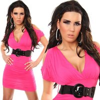 Elegant evening dress mini dress with belt fuchsia