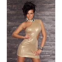 SEXY ONE-SHOULDER SEQUINED MINIDRESS EVENING DRESS GOLD