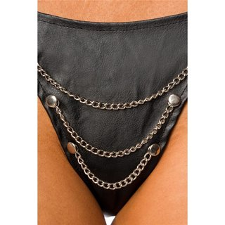 Sexy thong in leather look with chains lingerie black