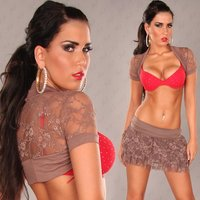 Elegant lace bolero with short sleeves cappuccino