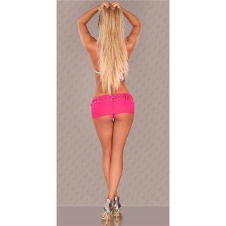 Super miniskirt with panty jeans look gogo clubwear fuchsia