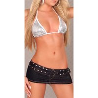 SUPER MINISKIRT WITH PANTY JEANS-LOOK GOGO CLUBWEAR BLACK