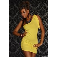 SEXY ONE-SHOULDER MINIKLEID KLEID GELB