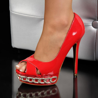SEXY PEEP TOES HIGH HEELS PUMPS PLATFORMS RED