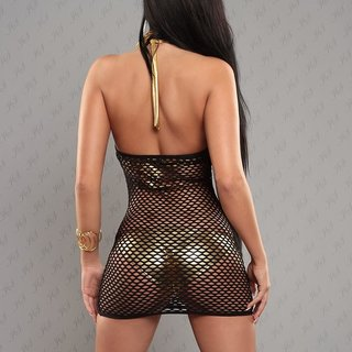 Sexy halterneck fishnet dress gogo clubwear black