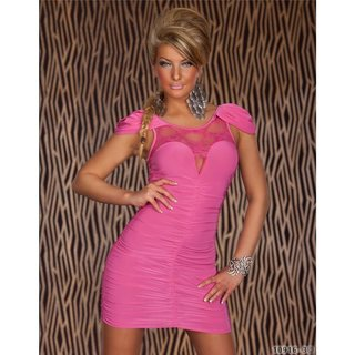 Elegant evening dress mini dress with lace fuchsia
