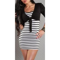 SEXY STRAP DRESS MINIDRESS WITH BOLERO BLACK/WHITE