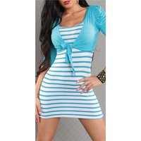 SEXY STRAP DRESS MINIDRESS WITH BOLERO TURQUOISE/WHITE