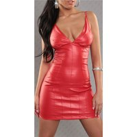 SEXY STRAP MINIDRESS FAUX LEATHER WET LOOK RED