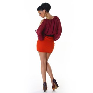 Elegant long-sleeved mini dress with belt wine-red/orange