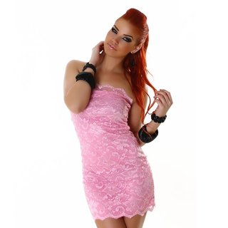 Elegant bandeau mini dress made of lace pink