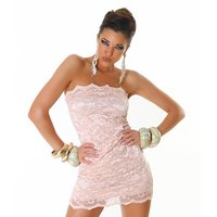 ELEGANT BANDEAU MINIDRESS MADE OF LACE APRICOT