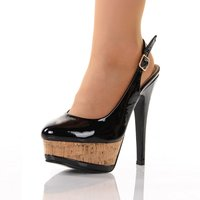 SEXY SLING PUMPS PLATFORM HIGH HEELS SHOES WITH CORK BLACK