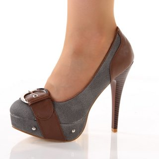 SEXY PUMPS HIGH HEELS PLATFORM SHOES GREY