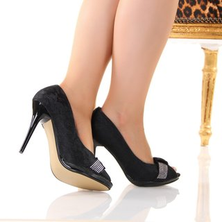 SEXY PEEP TOES HIGH HEELS PUMPS WITH LACE BLACK