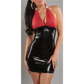 SEXY HALTERNECK MINIDRESS WET LOOK LATEX-LOOK GOGO BLACK/RED