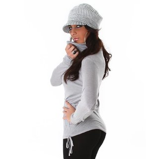 Elegant fine-knitted sweater polo-neck sweater light grey