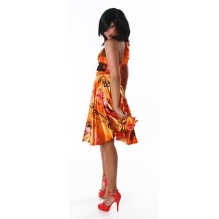 Precious satin halterneck evening dress with lace orange