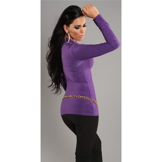 Elegant long-sleeved shirt long shirt with lacing purple