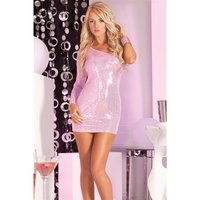 SEXY ONE-ARMED SEQUINED MINIDRESS PARTY DRESS PINK