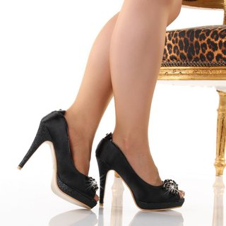 Sexy peep toes high heels pumps platforms satin black